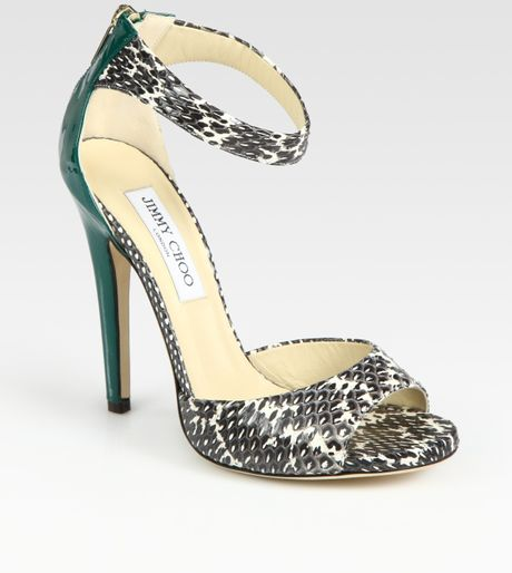 Jimmy Choo Trinity Snakeskin and Patent Leather Sandals in Animal (brown) - Lyst