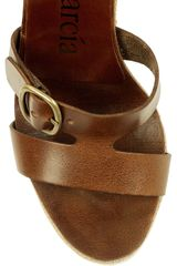 Pedro Garcia Teri Leather and Canvas Wedge Sandals in Brown - Lyst
