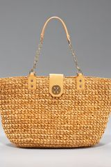 Tory Burch Straw Turn-lock Tote - Lyst