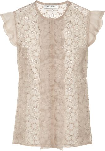 Valentino Embroidered Organza Top - Lyst