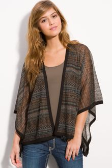 Wallpapher Sheer Print Poncho Cardigan - Lyst