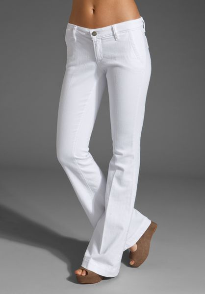 Paige Santa Monica Flare in White (optic white) - Lyst