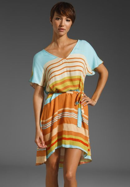 Testament Kimono Dress W/ Tie Belt in Blue (stripe print) - Lyst