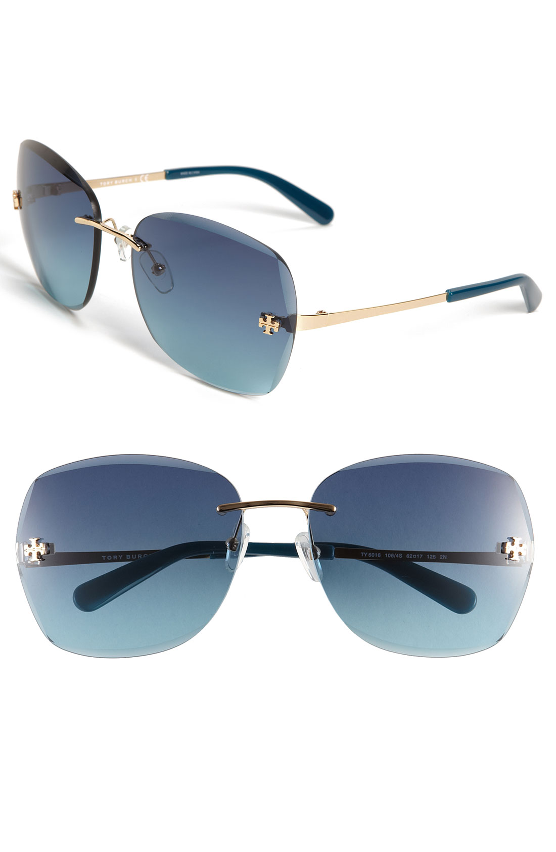 Tory Burch Rimless Sunglasses in Blue (gold/ blue teal) Lyst