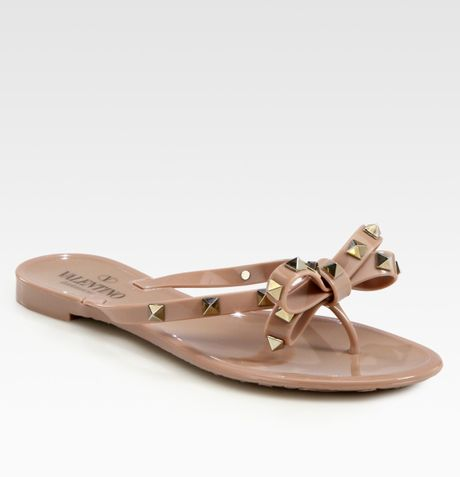 Valentino Rockstud Studded Thong Bow Jelly Flip Flops In