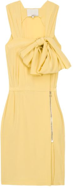3.1 Phillip Lim Silk Cdc Overlap Dress in Yellow - Lyst