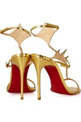 Christian Louboutin Lady Max 100 Spikeembellished Metallic Leather Sandals in Gold - Lyst