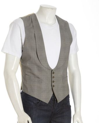 John Varvatos Grey Plaid Cotton Four-button Vest - Lyst