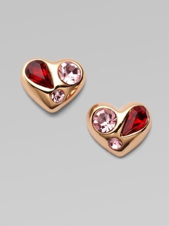 Marc By Marc Jacobs Stone Accented Heart Stud Earrings - Lyst