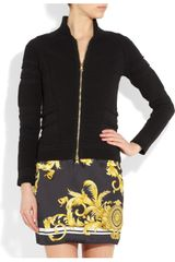 Versace Ribbed Stretchjersey Jacket in Black - Lyst