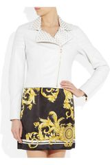 Versace EyeletDetailed Quilted Leather Biker Jacket in White - Lyst