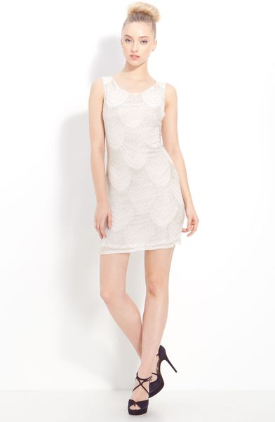 Alice + Olivia Beaded Silk Dress in White - Lyst