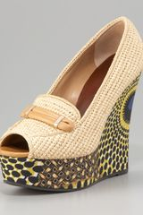 Burberry Raffia Printed Wedge - Lyst