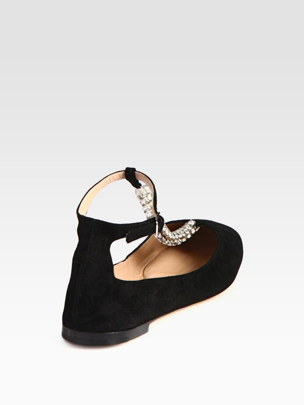 3725fdd483e Lyst - Chloé Embellished Suede Tstrap Ballet Flats in Black