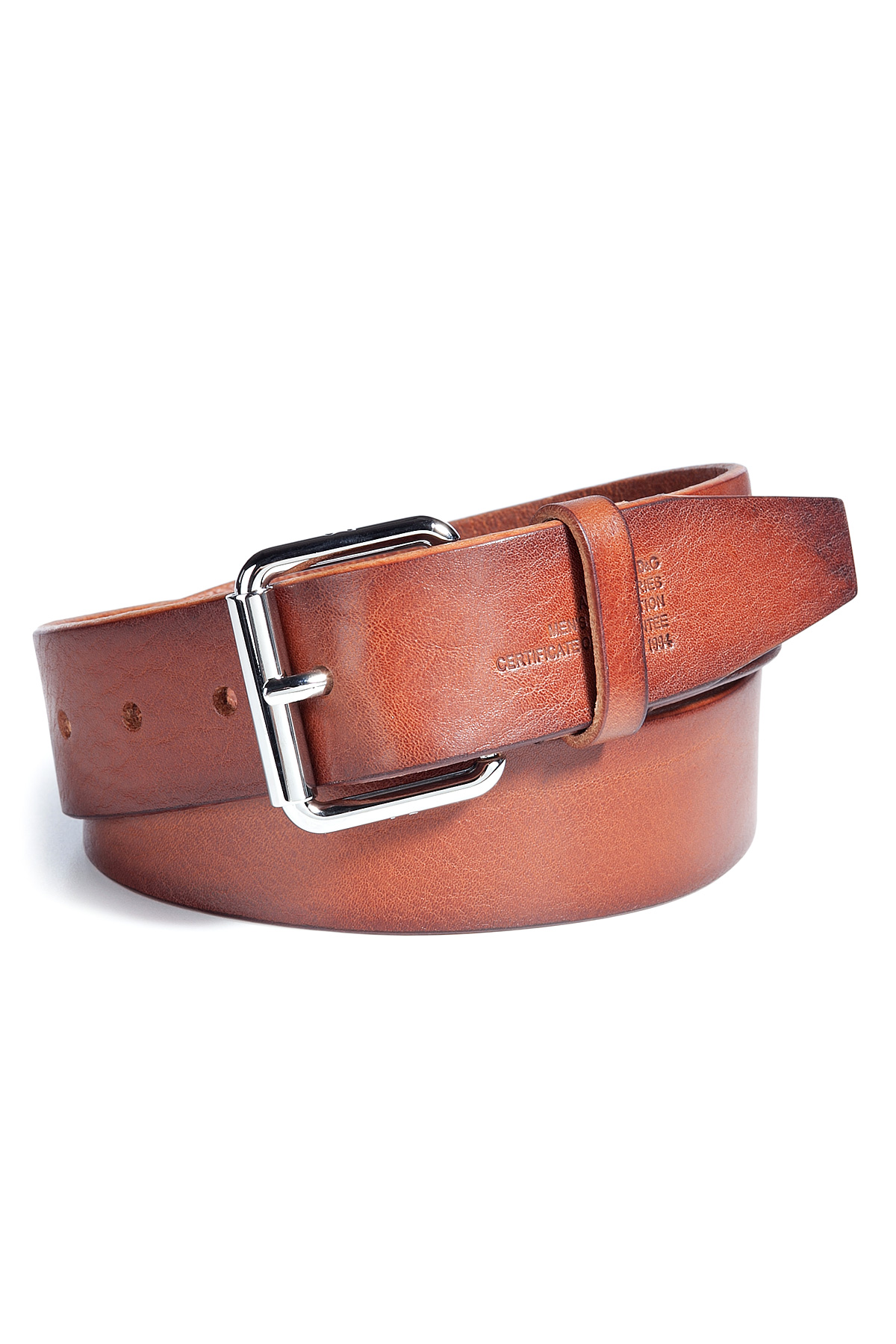 d g rust leather belt with silver buckle in brown for