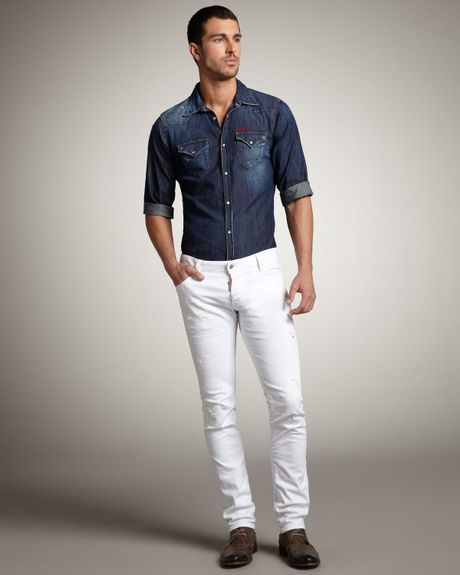 Dsquared Slim Distressed White Jeans In White For Men Lyst