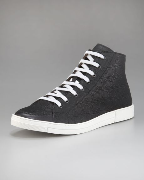 Ferragamo Ok Embossed Hi-top Sneaker in Black for Men