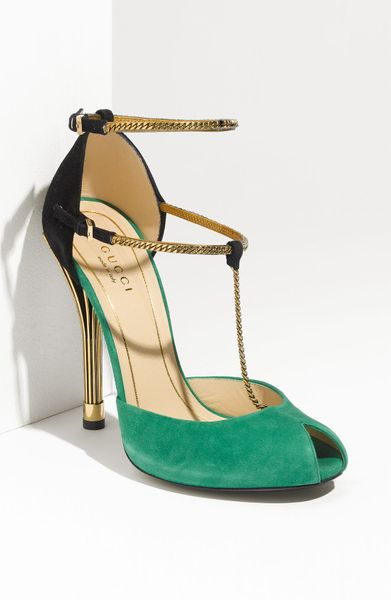 Gucci Chain Strap Mary Jane Sandal in Green (green suede) - Lyst