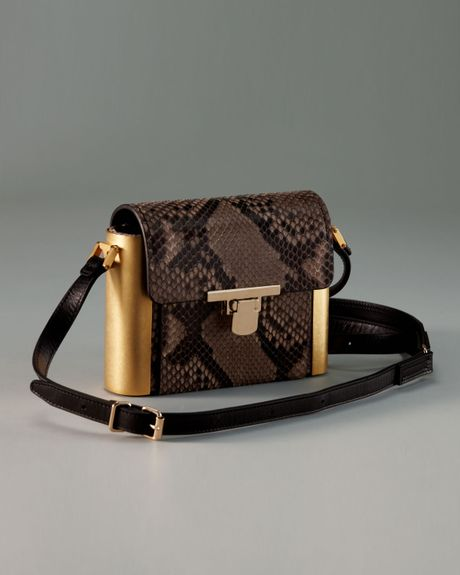 Lanvin Python Camera Bag in Brown (grege) - Lyst