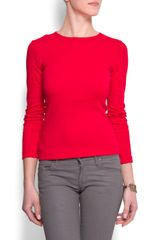 Mango Long Sleeves Cotton T-shirt - Lyst