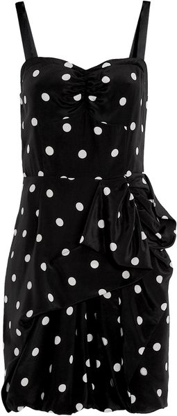 Marc By Marc Jacobs Hot Polka Dot Gathered Waist Silk Dress - Lyst