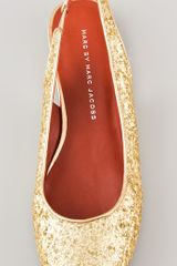 Marc By Marc Jacobs Sling Back Glitter Flats in Gold - Lyst