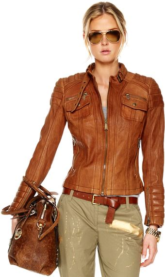 Michael Kors Quilted-shoulder Leather Jacket - Lyst