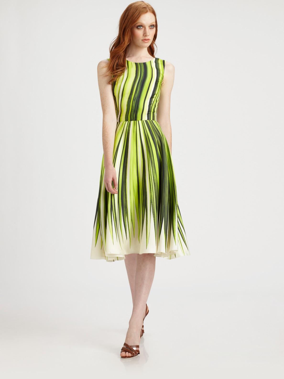 Lyst Oscar De La Renta Silk Palm Print Dress In Green
