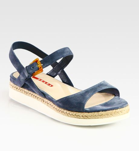 Prada Suede and Microfoam Flat Sandals in Blue - Lyst