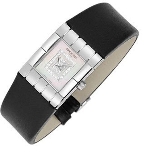 Raymond weil tema - ladies double diamond river leather watch in black