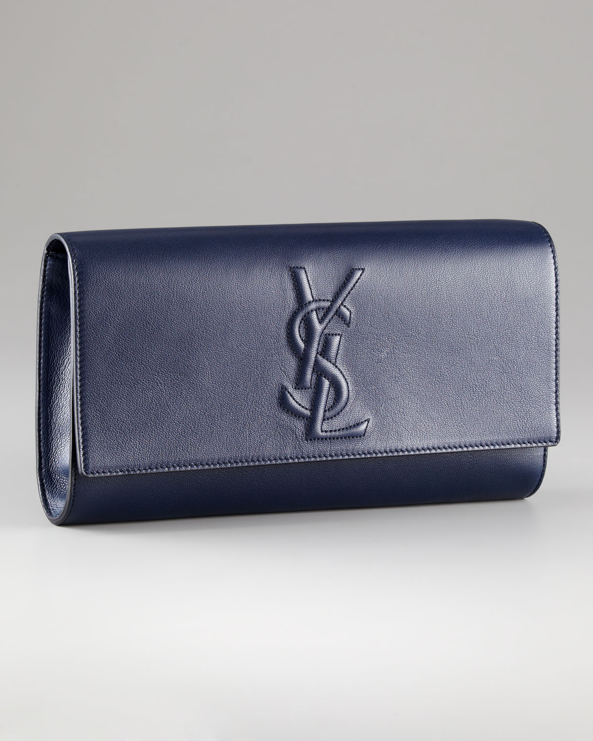 Saint laurent Belle Du Jour Leather Clutch in Blue (navy) | Lyst