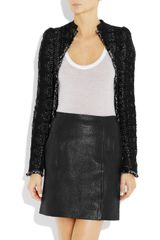 Antonio Berardi Tweed and Leather Jacket in Black - Lyst