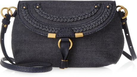 Chloé Marcie Denim and Leather Shoulder Bag in Black (denim) - Lyst