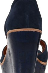 Dolce Vita Navy Leather Ankle Strap Paiva Wedges in Blue (navy suede) - Lyst