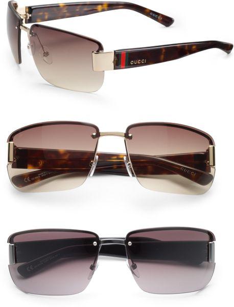 Gucci Rimless Glasses : Gucci Rimless Rectangle Sunglasses in Black for Men Lyst
