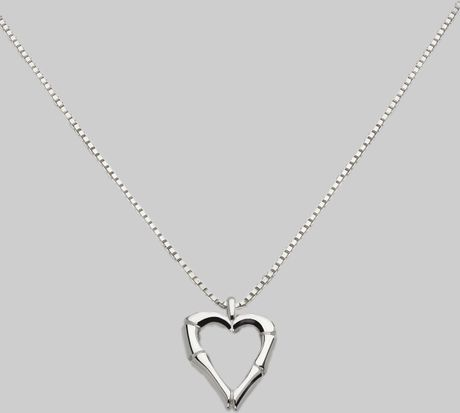 Gucci Sterling Silver Bamboo Heart Necklace in Silver - Lyst