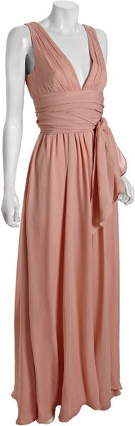 Halston Heritage Bisque Silk Chiffon Tie Waist Evening Gown in Pink - Lyst