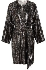 Lanvin Printed Silk-blend Lamé Dress - Lyst