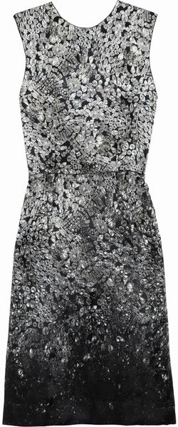 Lanvin Printed Silk-Blend Satin Dress - Lyst