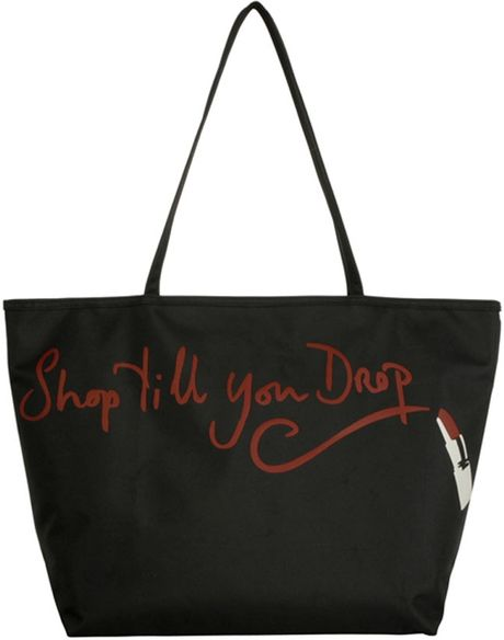 Lulu Guinness Shop Till You Drop City Tote in Black - Lyst