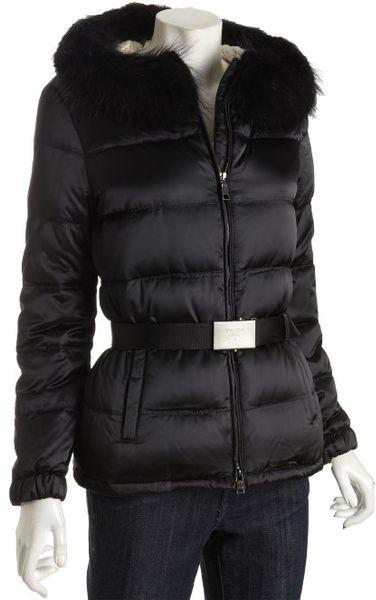 Prada Black Quilted Nylon Fur Hooded Down Coat In Black Lyst