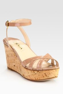 Prada Patent Leather and Cork Ankle Strap Wedge Sandals - Lyst