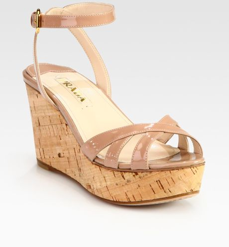 Prada Patent Leather And Cork Ankle Strap Wedge Sandals In