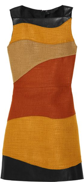 Proenza Schouler Leather and Woven Tweed Dress in Brown (mustard) - Lyst