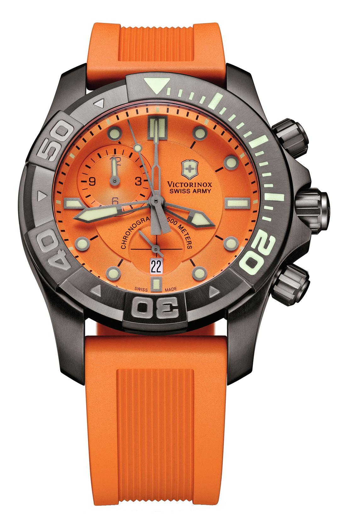 Victorinox dive master 500 chrono watch in orange lyst - Orange dive watch ...