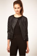 ASOS Collection Asos Pu Collarless Quilted Biker Jacket - Lyst