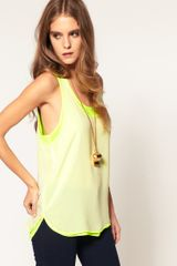 Asos Collection Asos Vest with Double Layer in Green (creamyellow) - Lyst
