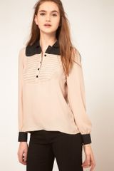 ASOS Collection Asos Blouse with Colourblock and Pintuck Bib - Lyst