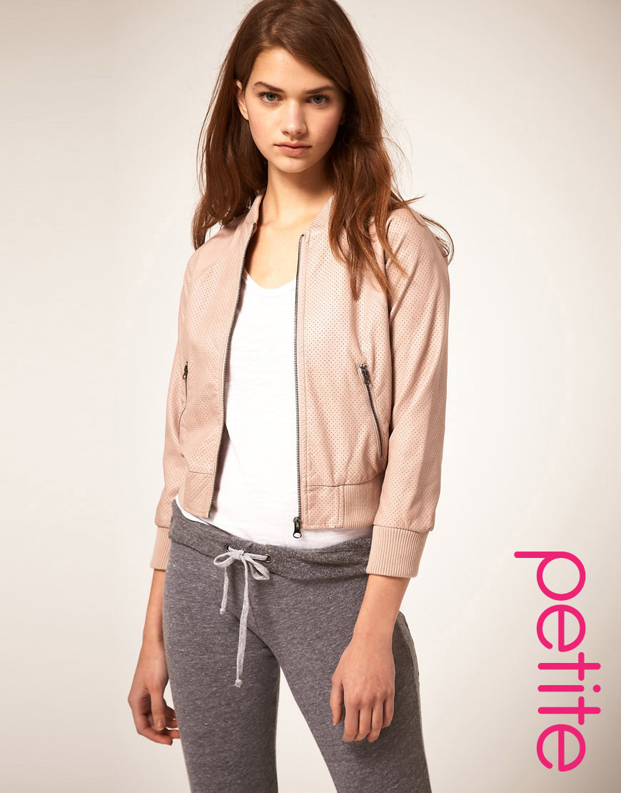 Asos collection Asos Petite Pu Cropped Airtex Bomber Jacket in ...
