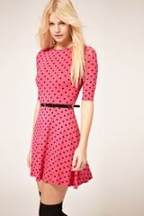 ASOS Collection Asos Skater Dress In Spot Print With Belt - Lyst